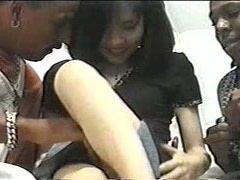 Two huge black dicks for Asian teen babe