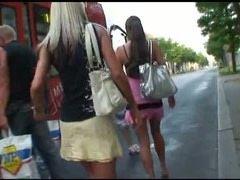 Public lesbian games in the tram