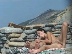 Horny teen having sex at a rocky beach