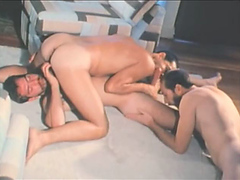 Retro moustached 3 some