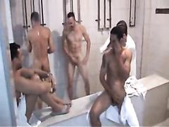 Fantastic Brazilian soccer players with huge cocks shower after the game