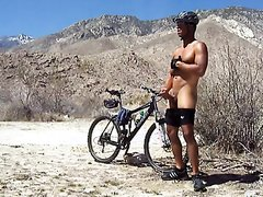 Hot cyclist jerking off outside