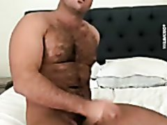 Chad White jerk and cum in bed 1