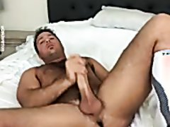 Chad White jerk and cum in bed 2