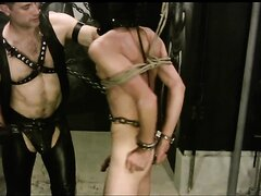 Gloved Master and slave 1--tied and flogged