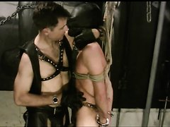 Gloved Master and slave 2--tied and single tail