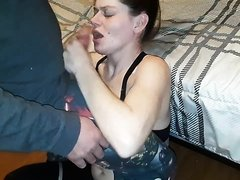Purple-Haired Slut gets Puke on her Tits