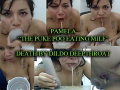ARTSYPOURN presents - PAMELA eating puke and poo -DEATH by DILDO DEEPTHROAT