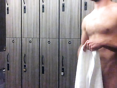 fuzzy guy jerks it at the gym