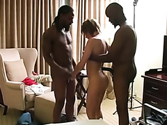 White milf and two black studs