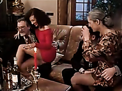 Two couples in a kinky group romp