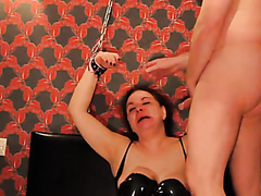 Helpless wife sucks dick and gets a facial