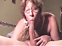 Granny with glasses deepthroating like crazy