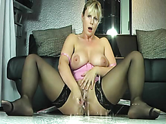 Hot busty blonde milf squirts like crazy