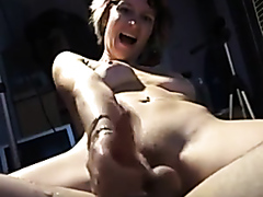 Horny girlfriend jerking on my cock