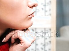 girl swallowing pill without water