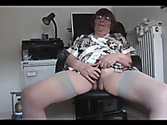 Glamorous granny rubbing herself on webcam