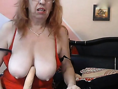 Busty granny fingers all holes
