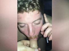 straight guy sucking dickk while talking to his gf