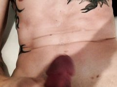 Toxic bugs tattooed gay masturbate and unload his spunk