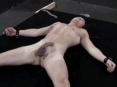 slavde cums for master then electro to cock and balls