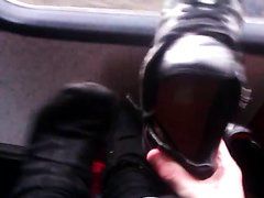 Teen Boy Feet on Bus