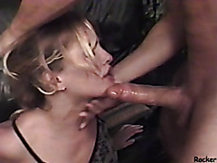 Amateur slut roughed up while sucking dick