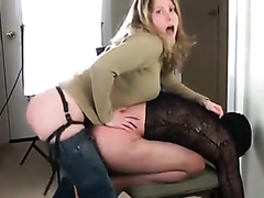 Dominant slut rammes her boyfriend's ass