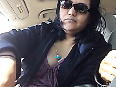 My chubby Latino wife strokes my thick dick in a car