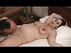 Kinky pregnant babe enjoys pleasuring multiple dicks