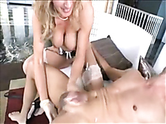 Horny babe makes a guy cum and swallow his cum