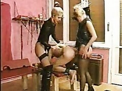 Tied up man getting asshole drilled with dildo