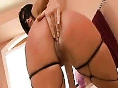 Masked girl adores huge dildos and threesome sex