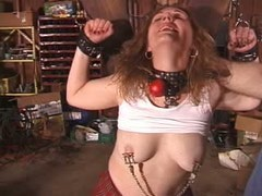 Red haired mature was humiliated with clamps