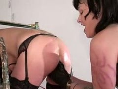 Slave girl was abused by punk mistress and skinny guy