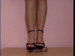 Slut in shoes ruined penis of her slave