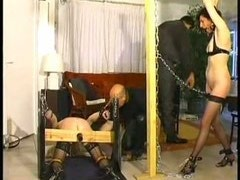Brutal BDSM games with two female slaves