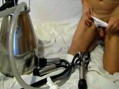 Pervert fucked a milking machine