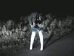 Night peeing on the road