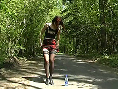 Redhead girlfriend pissed on the road