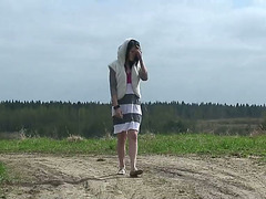 Pierced cunt pissed on the country road
