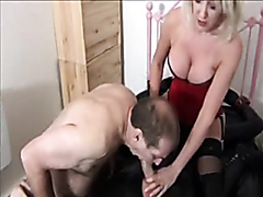 Dominant milf makes her slave suck a dick
