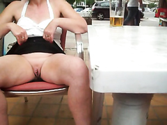 Cougar spreads her pussy in a public place