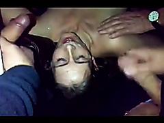 Amateur slut rammed in a hardcore gangbang