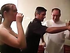 Group of guys drill a horny slut