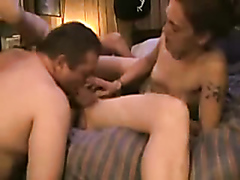 Hardcore bisexual threesome at the motel