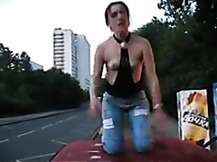 Party slut goes wild on the streets