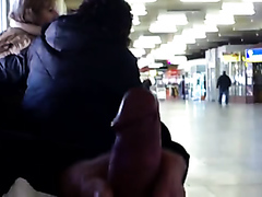 Jerking my cock off at the airport
