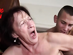 Squirting grandma drilled by a young stud