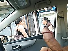 Kinky guy jerks off in the car